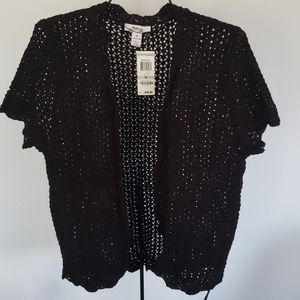 NWT Style & Co Short Sleeve Black Open Cardigan 1X